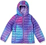 Amazon Essentials Girl's Lightweight Water-Resistant Packable Hooded Puffer Jacket Outerwear, Purple Ombre, XL