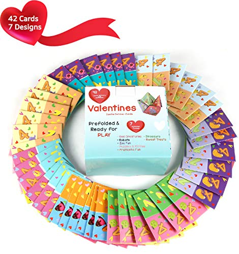 MOMONI Premium 42 Piece Valentines day cootie catcher cards game with envelopes- Perfect for kids valentine day cards, school classroom games, classroom exchange party favor, valentines goody bag treat fillers