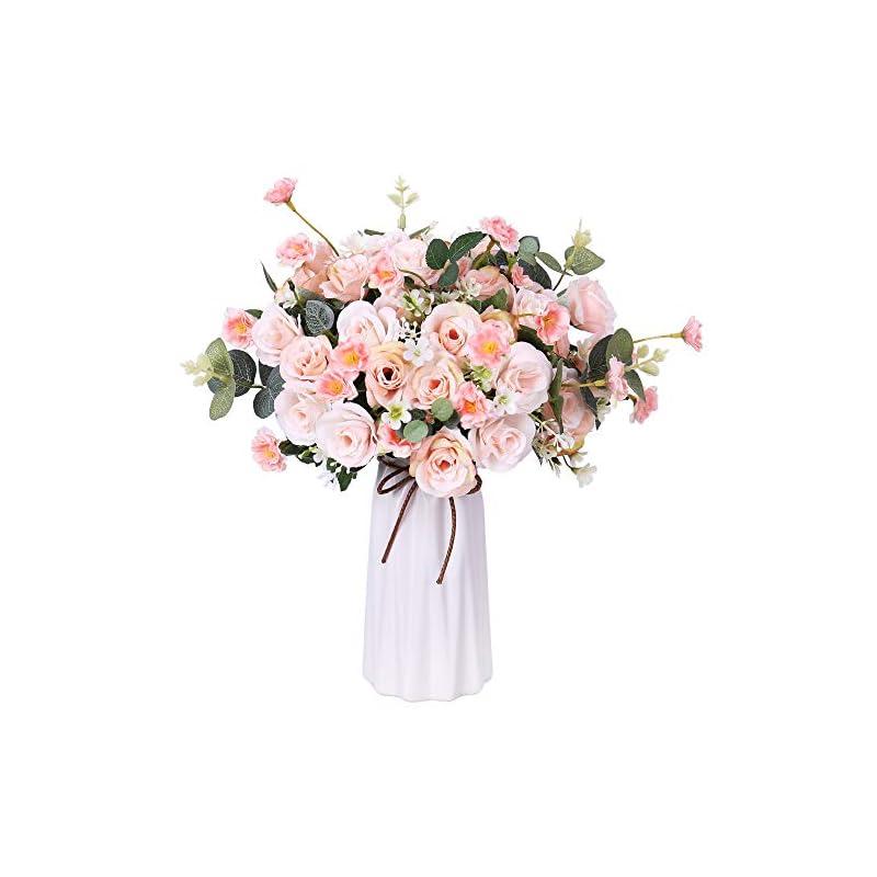 silk flower arrangements fengruil artificial flowers with ceramics vase, silk rose flowers arrangements bouquet for table centerpiece bridal wedding home decoration (light pink)