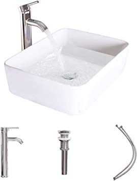 Luckwind Bathroom Vessel Sink Ceramic White Porcelain Lavatory Counter Sink Basin Bowl Chrome Brass Faucet Pop Up Drain Combo Single Hole Above Vanity Top Overflow Rimming Rectangular Non Overflow