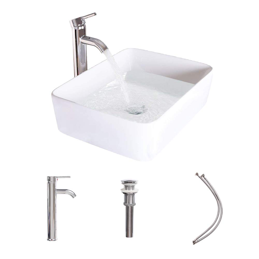 LUCKWIND Bathroom Vessel Sink Ceramic – White Porcelain Lavatory Counter Sink Basin Bowl Chrome Brass Faucet Pop Up Drain Combo Single Hole Above Vanity Top Overflow Rimming Rectangular Non-overflow