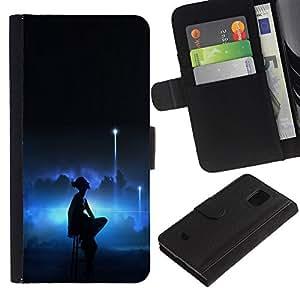 LECELL--Cuero de la tarjeta la carpeta del tirón Smartphone Slots Protección Holder For Samsung Galaxy S5 Mini, SM-G800 -- Bailarina de Lonely --