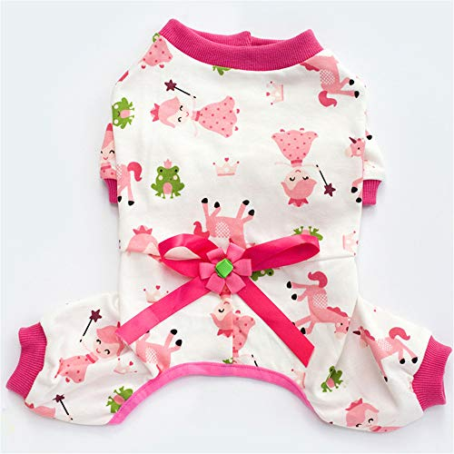 Jdogayncat Pet Clothing, Cotton 4 Legged Printed Casual Home Service Pajamas, Small and Medium-Sized Dogs Teddy Bear Girl Dog Clothes