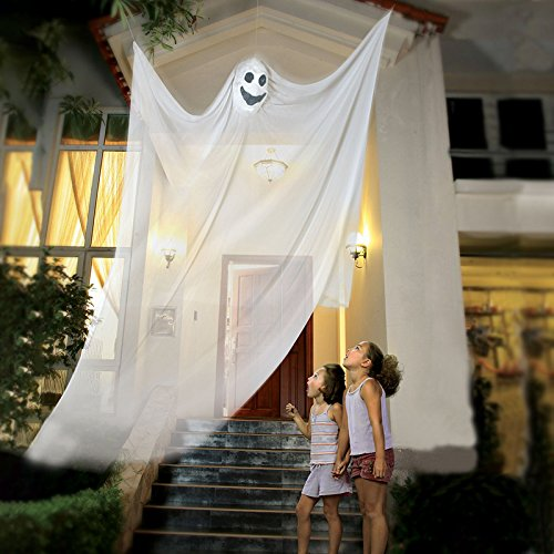 Halloween Hanging Ghost Prop Hanging Skeleton Flying Ghost, Halloween Hanging Decorations for Yard Outdoor Indoor Party Bar, 3.3m/10.8ft Long (White)