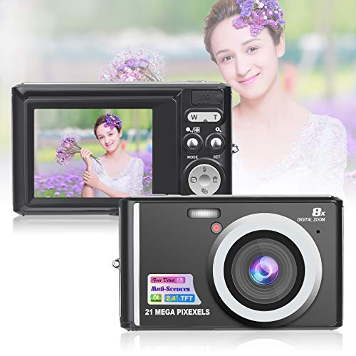 HD Mini Digital Cameras,21MP Point and Shoot Digital Video Cameras-Travel,Camping,Gifts (Black 1)
