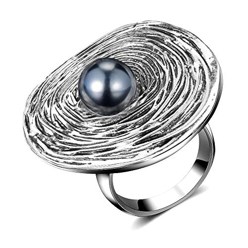 - Mytys Big Round Cocktail Ring Grey Simulated Pearl Statement Rings for Women Retro Silver Plated