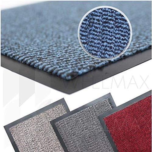 Indoor and Outdoor Absorbent Non-Slip Rug Entrance mat Beige-Black, 40 x 60 cm WELLMAX Dirt Trapper Doormats Low Profile Barrier Mat for Front Door and Hallway