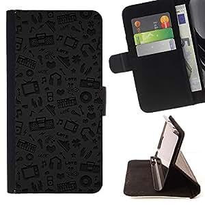 For Samsung Galaxy Note 3 III Case , Patrón Música Gris Auriculares Dj- la tarjeta de Crédito Slots PU Funda de cuero Monedero caso cubierta de piel