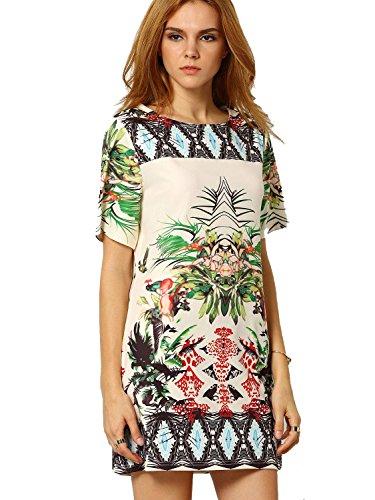 ROMWE Women's Floral Casual Mini Dress Multicoloured S (Tropical Dress Floral)