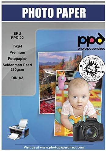 PPD Inkjet 280 g/m2 Super Premium Fotopapier Mikroporös Seidenmatt Semi Glossy Pearl DIN A3 x 20 Blatt PPD-22-20