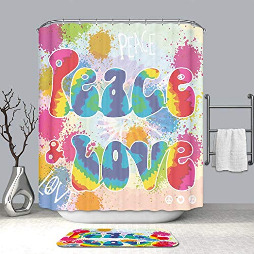 Art Shower Curtain with Doormat Bath Mat 70s Party Decorations Peace and Love Tie Dye Funky Color Splashes Rainbow Abstract Mildew Resistant Shower Curtain with Non-Slip Floor Doormat Bath Rugs (Tie Dye Toothbrush)