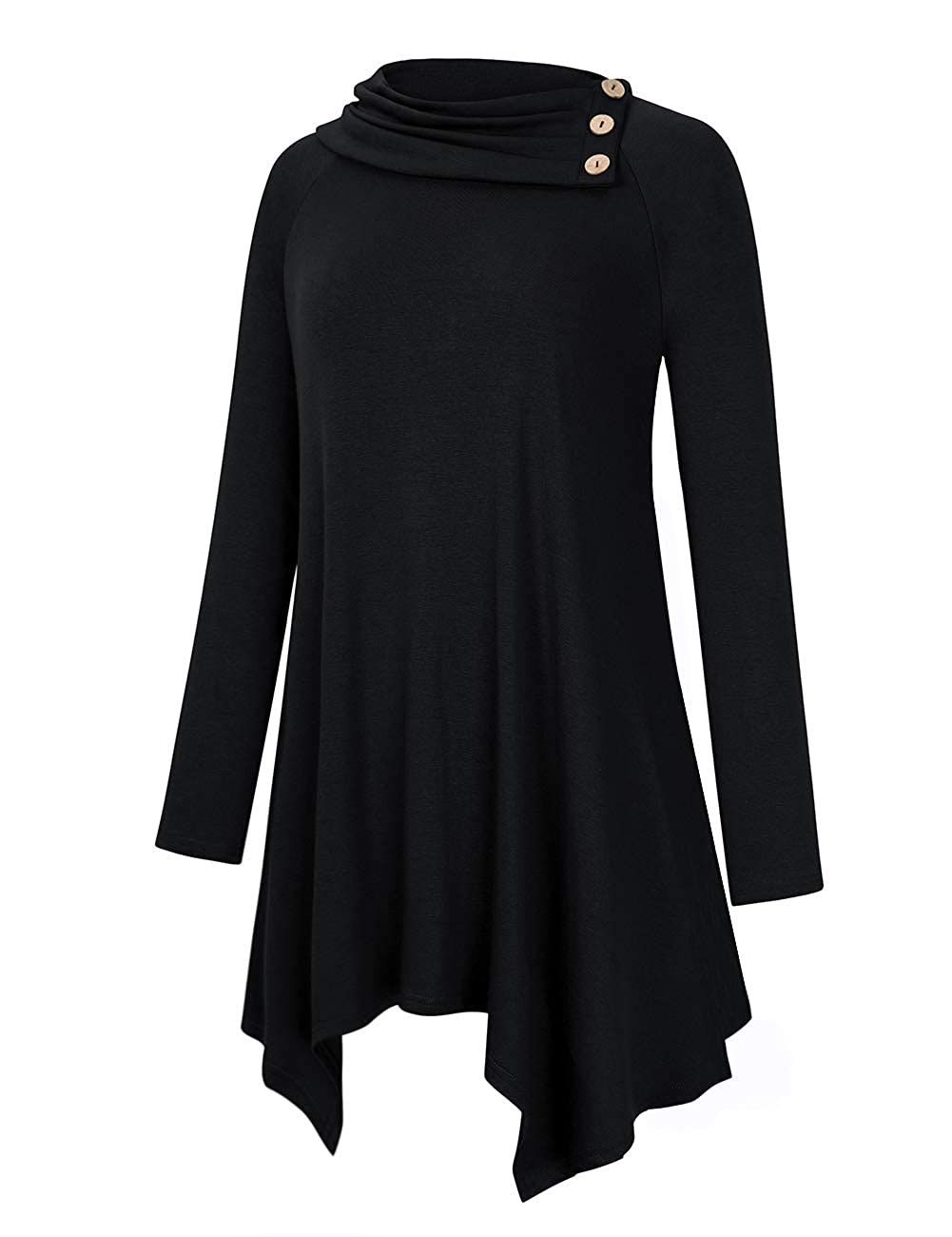 696b8f4462c AMZ PLUS Women's Plus Size Solid Cowl Neck Raglan Long Sleeve Casual Tunic  Blouse Top with Pockets at Amazon Women's Clothing store: