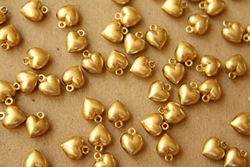 6 pc. Small Raw Brass Double Sided Puffed Heart Charms: 9mm by 7mm