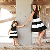 AutumnFall 2018 New Style Family Dress,Mommy &Me Women Children Baby Girls Striped Print Sundress Vest Slim Dress Family Casual Clothes (Size:S, Black-Mother)