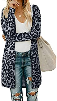 OUGES Women's Open Front Cardigan Shirt with Pockets Long Sleeve Lightweight