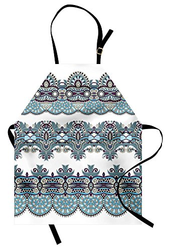 [Paisley Apron by Ambesonne, Traditional Ethnic Floral Bordered Triplet Design with Stripes Dots and Circles, Unisex Kitchen Bib Apron with Adjustable Neck for Cooking Baking Gardening, Blue and White] (Funny Triplet Costumes)