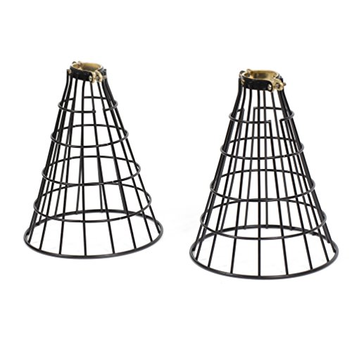 Rustic State Vintage Design Metal Light Cage Guard – Decorative Lamp Shade Black Set of 2Rustic State Vintage Design Metal Light Cage Guard – Decorative Lamp Shade Black Set of 2 (Cone)