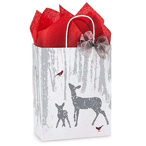 Woodland Frost Paper Bags - Cub Size - 8.25in. X 4.75in. X 10.5in. - 100 Pieces by NW