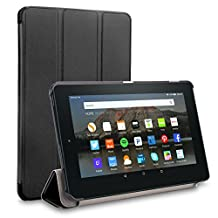 Zaneeta® Case for Fire 7 2015, Anti-aging and Slim Light Weight Leather Cover for 2015 Amazon Fire 7, Fire 7'' Tablet.(only for 5th Generation ,2015 Release) (Black)