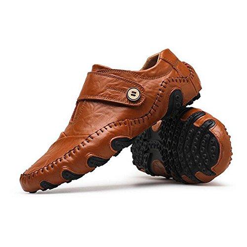 Brown Zapatos Black Youth Mens Con Cuero Spring Casual Cordones Corium Confortables 44 De Fashion Velcro 7nYAqgx6B