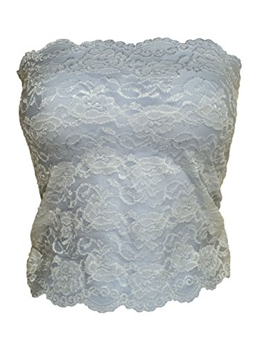 (Ally Rose Topper Stretch Lace Camisole Bandeau Tube Top 12 Inches Long White 3X)