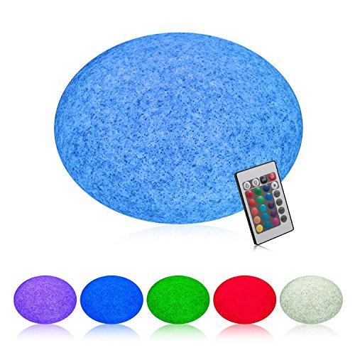 INNOKA 11-inch LED Mood Light [ Large] Waterproof & Cordless Glow Light, Rechargeable, RGB Color Changing Garden Light for Pool, Outdoor, Indoor, Patio, Party, Mood Lamp, Round Pebble Shaped - (Pebble Pool Base)