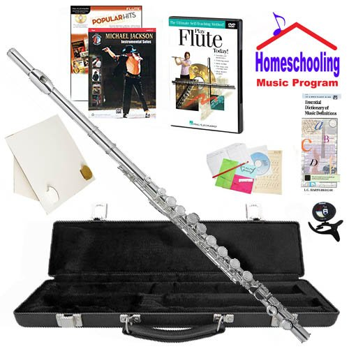 Homeschool Music - Learn to Play the Flute Pack (Michael Jackson Pop Music Book Bundle) - Includes Student Flute w/Case, DVD, Books & All Inclusive Learning Essentials ()