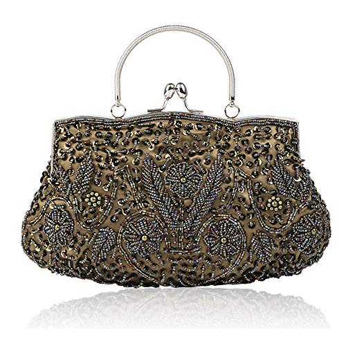 Handmade Cluth Exquisite Bridal Bag Sequin Bags Vintage Enjoysports Women Olivegreen Handbag Glitter Beads Ball Party amp; Beaded for Bag Evening Wedding q70Iv1w