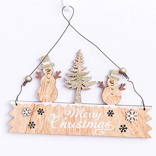 Lovewe Christmas Elk Wood Plate,Hollow Door Hanging,Wooden Pendant,Xmas Ornaments Decor (F)