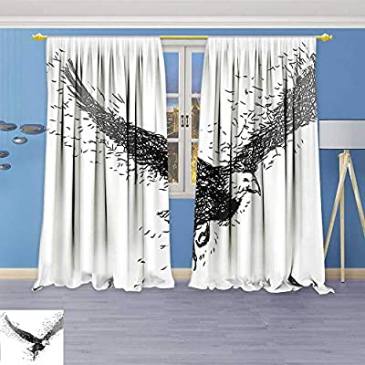 Alta Pine Forest Design Collection,Sketchy Geometrican Contemporary Eagle Bird Wildlife Painting Image Art White Grey Black,Living Kids Girls Room Curtain