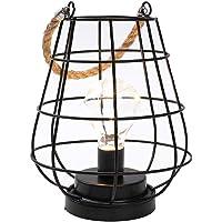 JHY DESIGN 22cm Lámpara de bombilla de jaula alta Lámpara decorativa Luz inalámbrica a batería con luces de hadas…