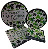 Happy St. Patrick's Day Shamrock Paper Plates and Napkin Party Pack