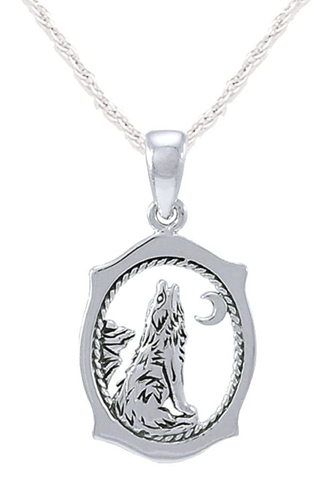 US Jewels And Gems 0.925 Sterling Silver Howling Wolf Animal Pendant Necklace