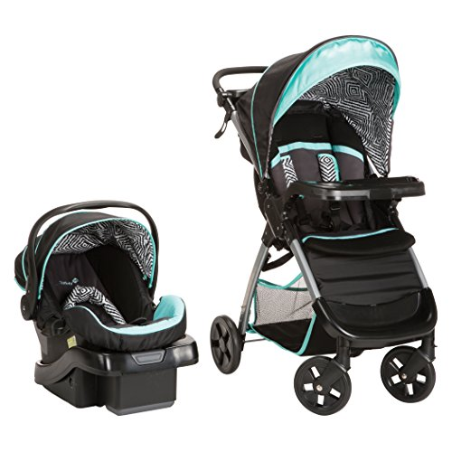 Safety 1st Lightweight Stroller - Safety 1st Amble Luxe Travel System with Onboard 35 Infant Car Seat, Black Ice