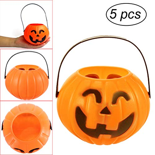 TINKSKY 5pcs Pumpkin Candy Holder Trick-or-Treat Halloween Candy Bucket Prank Tool Without Light - Size M(Random Design of Triangle and Curved Eyes) -