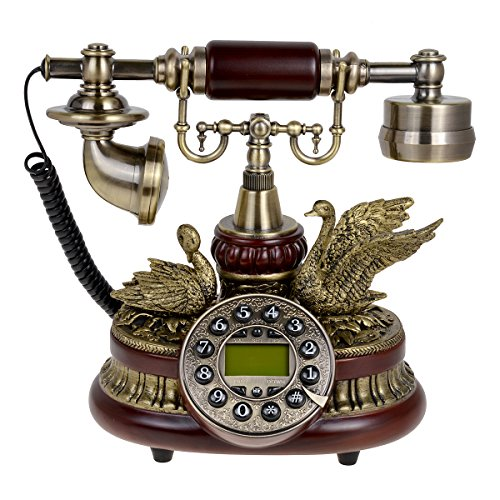 (Kmise 159A Ceramic Retro Vintage Antique Style Push Button Dial Desk Telephone Phone Home Living Room Decor)
