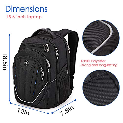 82c26b61fe22 Large Durable Backpack, Swissdigital TSA Friendly Business Laptop Backpack  for Men with USB Charging Port/RFID Protection Big Travel Water-Resistant  ...