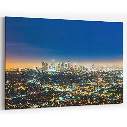 Scenic View of Los Angeles Skyscrapers at Night Canvas Art Wall Dector for Modern Home Decor