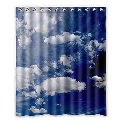 90x180 HUIYIYANG Rideau de Douche Personnalis/ébeaut/é Naturelle Ciel Bleu Clair et Nuages ??Blancs Rideau de Douche Imperm/éable de Salle de Bains de Polyester de Tissu danti mildiou36 x 72