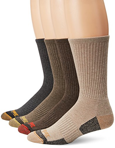Timberland Men's 4 Pack Outdoor Leisure Crew Assorted Colors, Brown/Gray, Sock Size:10-13/Shoe Size: 6-12