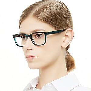 OCCI CHIARI Womens Fashion Non-Prescription Acetate Eyewear Frames with Clear Lens(Blue, 53)