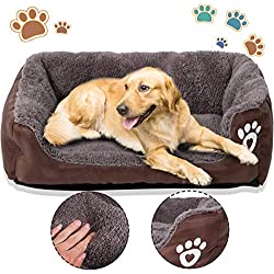 PrettyQueen Dog Bed Pet Cat Warm Bed Soft & Cozy Machine Washable for Medium and Small Dogs Cats (M, Coffee)