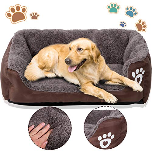 PrettyQueen Dog Bed Pet Cat Warm Bed Soft & Cozy Machine Washable for Medium and Small Dogs Cats (M, Coffee) For Sale