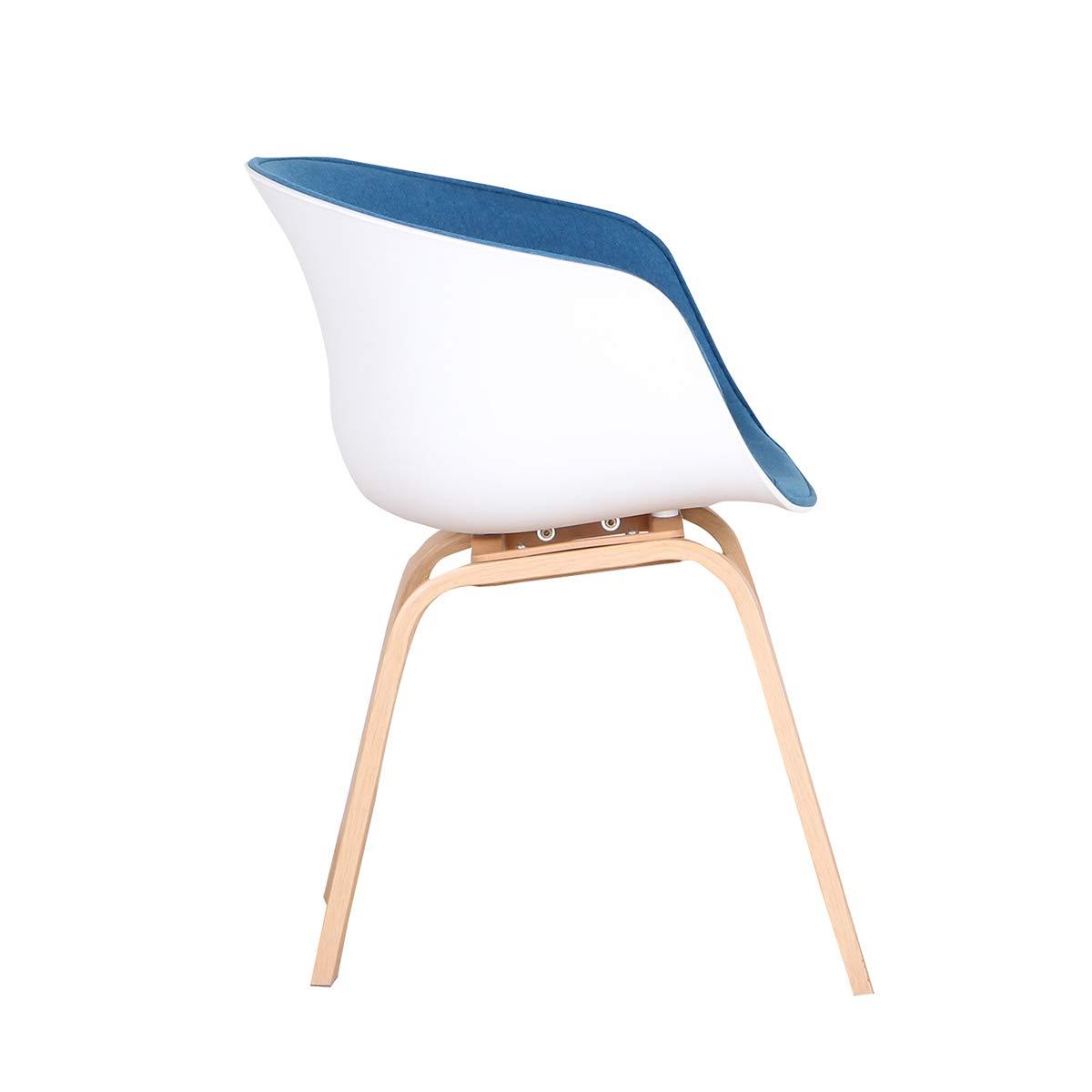 GroBKau matsalsstol uppsättning med 2 kontorsstolar med armstöd för hemtyg fåtöljer med metallben för vardagsrum matsal (blå, 2) BLÅ