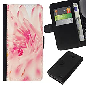 KLONGSHOP // Tirón de la caja Cartera de cuero con ranuras para tarjetas - Rosa Blanco Sun Vignette Primavera - LG OPTIMUS L90 //