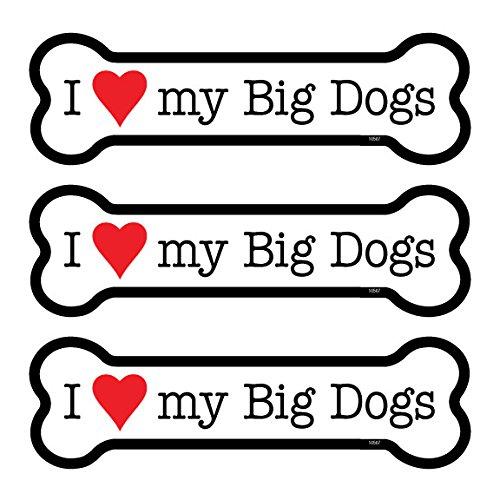 "(SJT25507) I (heart) my Big Dogs 3-PACK of 2"" x 7"" Bone Shaped Car Magnets"