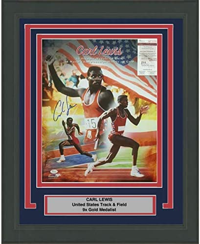CARL LEWIS AUTOGRAPHED SIGNED /& FRAMED PP POSTER PHOTO
