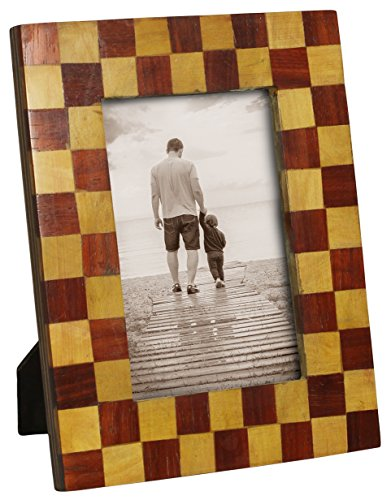 SouvNear 4x6 Photo / Picture Frame for Vertical and Horizontal Pictures - Handmade Brown Wooden Picture Stand - Table-Top Accessories / Mantel (Halloween Shows Nyc 2017)