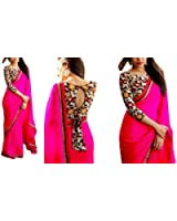 RV Creation Designer Pink Color Saree With Designer Printed Blouse Peice