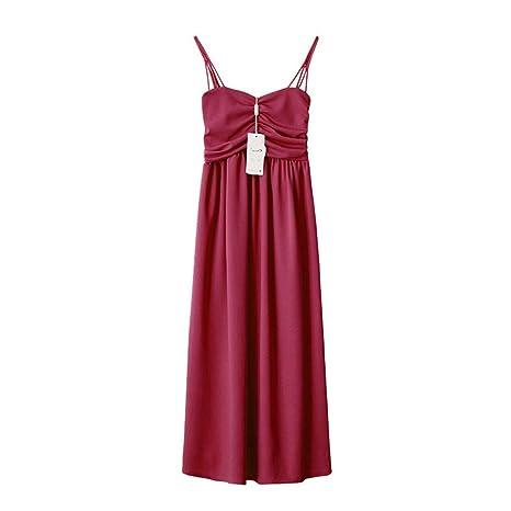 XuxMim Frau frühjahr und Sommer ärmellose Lange schlanke Strap einfarbig Dress